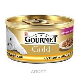 """Gourmet Gold кусочки в подливке """"Двойное удовольствие"""" с уткой и индейкой 0,085 кг"""